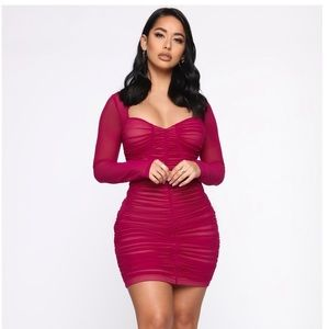 Magenta Ruched Mini Dress FasionNova Size S